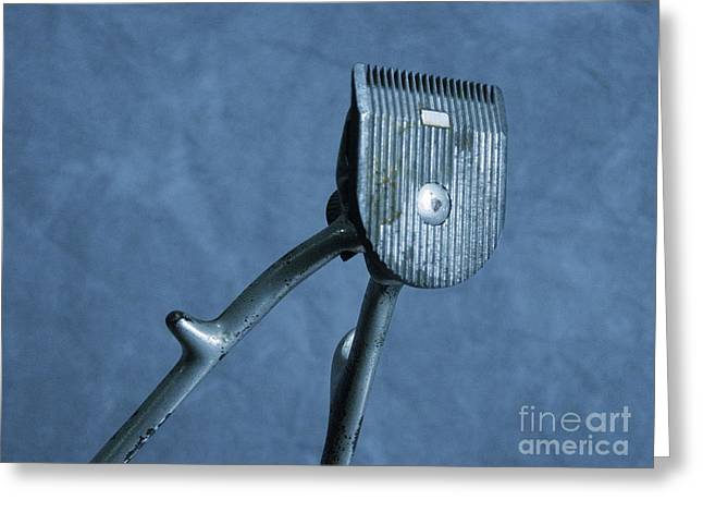 Gray Hair Greeting Cards - Vintage Barber Tools Manual Hair Trimmer Greeting Card by Jason Freedman