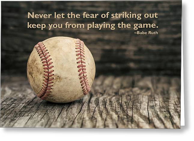 Girls Softball Greeting Cards - Vintage Baseball Babe Ruth Quote Greeting Card by Terry DeLuco