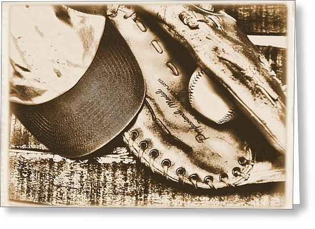 Vintage Baseball Greeting Card by Jimmy Ostgard