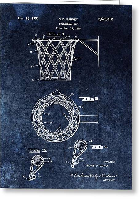 Vintage Basketball Net Patent Greeting Card by Dan Sproul