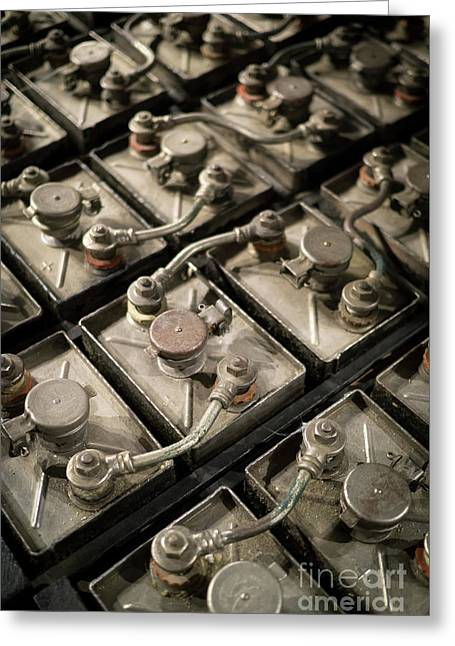 Vintage Battery Cells Greeting Card by Edward Fielding