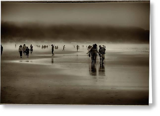 Vintage Beach Walk Greeting Card by David Patterson