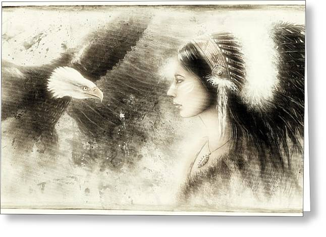 Native American Spirit Portrait Greeting Cards - Vintage  Beautiful Airbrush Painting Of A Young Indian Woman Wearing Greeting Card by Jozef Klopacka