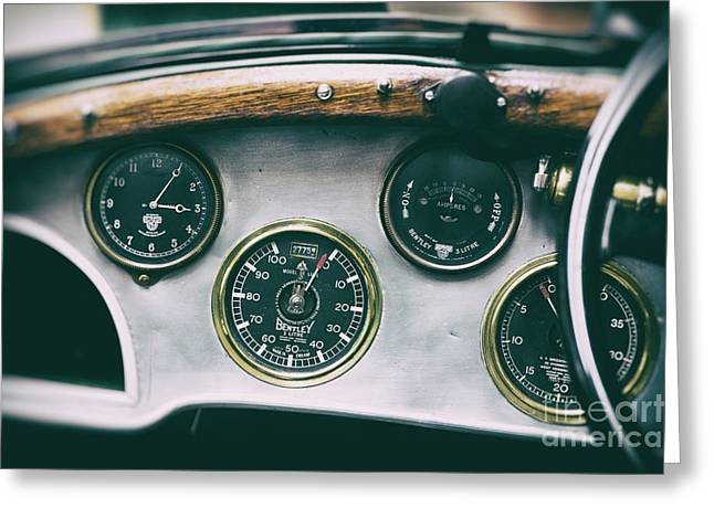 Vintage Bentley Dashboard Greeting Card by Tim Gainey