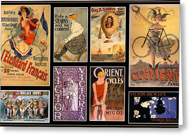 Cycling Posters Greeting Cards - Vintage Bicycle Posters Greeting Card by Andrew Fare