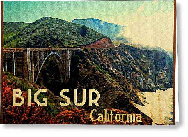 Bixby Bridge Greeting Cards - Vintage Big Sur California Greeting Card by Flo Karp
