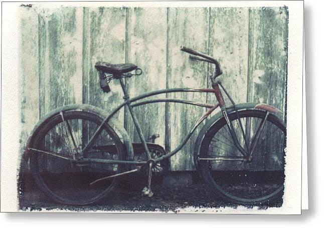 Vintage Bike Polaroid Transfer Greeting Card by Jane Linders