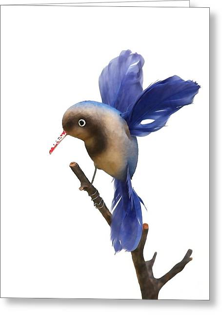 Christmas Blocks Greeting Cards - Vintage Blue Hummingbird Greeting Card by Art Block Collections