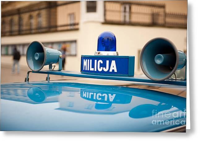 Vintage Blue Militia Car Cherry Greeting Card by Arletta Cwalina