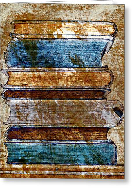 Vintage Book Stack Greeting Card by Frank Tschakert