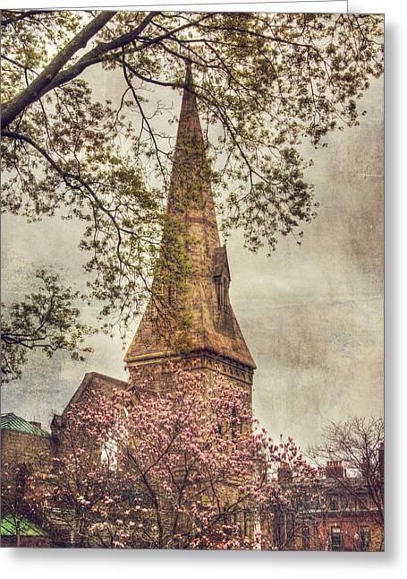 Spring Scenes Photographs Greeting Cards - Vintage Boston Church - Back Bay Greeting Card by Joann Vitali
