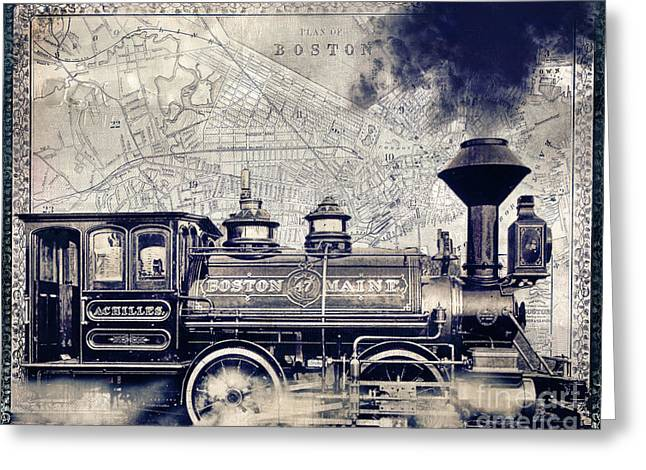 Beantown Greeting Cards - Vintage Boston Railroad Greeting Card by Mindy Sommers