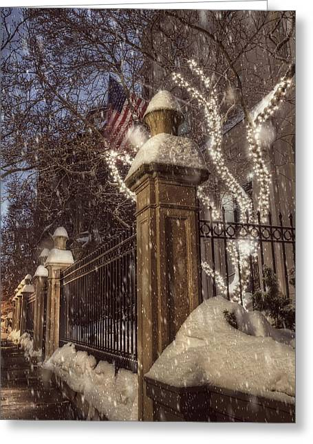 New England Snow Scene Greeting Cards - Vintage Boston Sidewalk in Winter Greeting Card by Joann Vitali