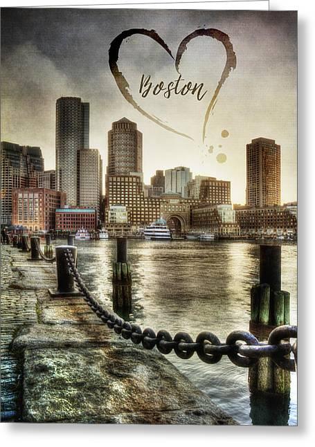 Fan Pier Greeting Cards - Vintage Boston Skyline Greeting Card by Joann Vitali