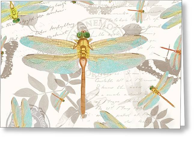 Vintage Botanicals Collection Dragonflies On The Wing Greeting Card by Tina Lavoie