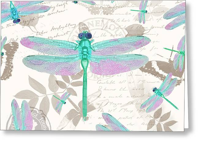 Vintage Botanicals Collection Sea Foam Green, Pink Dragonflies Greeting Card by Tina Lavoie