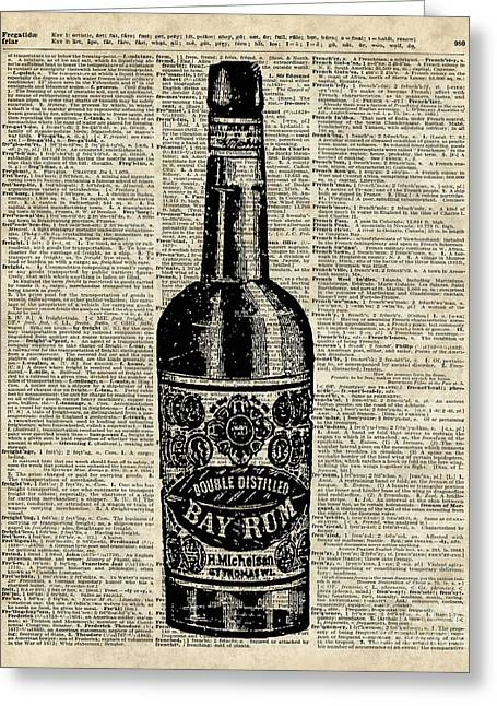 Italian Restaurant Mixed Media Greeting Cards - Vintage Bottle of Rum Over Antique Book Page Greeting Card by Jacob Kuch