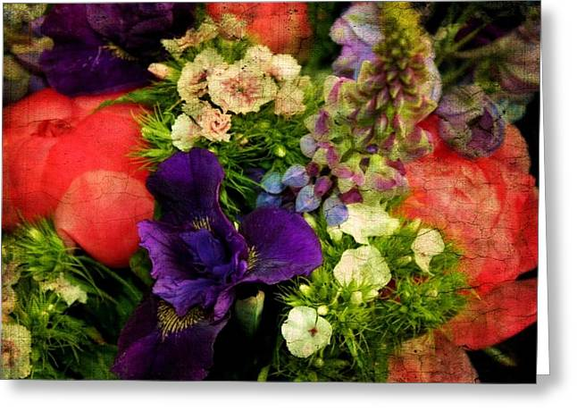 Iris Digital Art Greeting Cards - Vintage Bouquet Greeting Card by Cathie Tyler