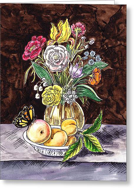 Glass Vase Greeting Cards - Vintage Bouquet With Fruits And Butterfly  Greeting Card by Irina Sztukowski