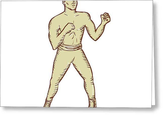 Boxer Digital Greeting Cards - Vintage Boxer Pose Etching Greeting Card by Aloysius Patrimonio