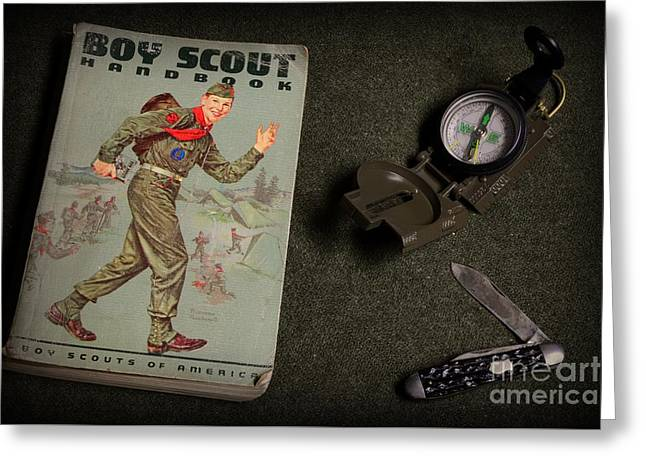 Vintage Greeting Cards - Vintage Boy Scouts Greeting Card by Paul Ward