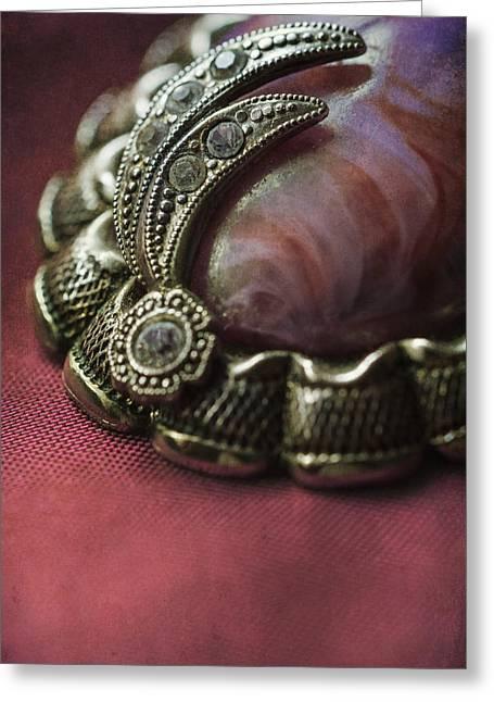Vintage Brooch With Red Gem Greeting Card by Jaroslaw Blaminsky