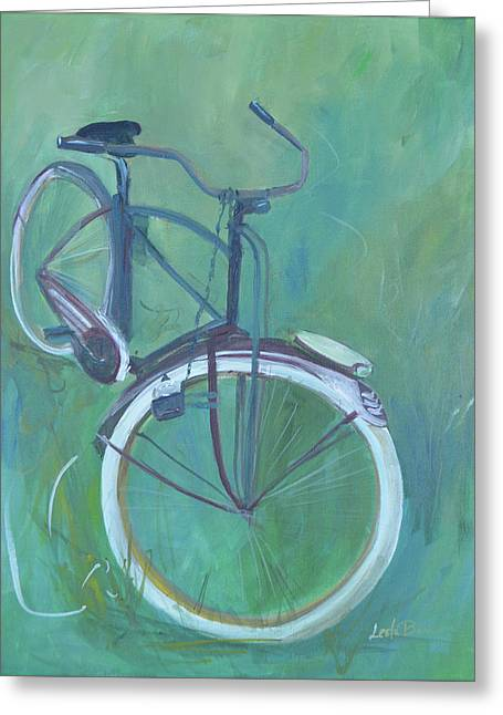 Vintage Brown Bike Greeting Card by Lee Bauman