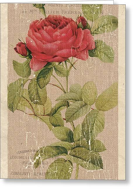 Vintage Burlap Floral Greeting Card by Debbie DeWitt