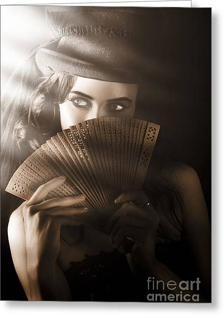 Vintage Cabaret Show Girl In Stage Spotlight Greeting Card by Jorgo Photography - Wall Art Gallery