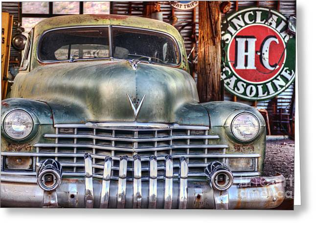Rusted Cars Greeting Cards - Vintage Cadillac Greeting Card by Eddie Yerkish