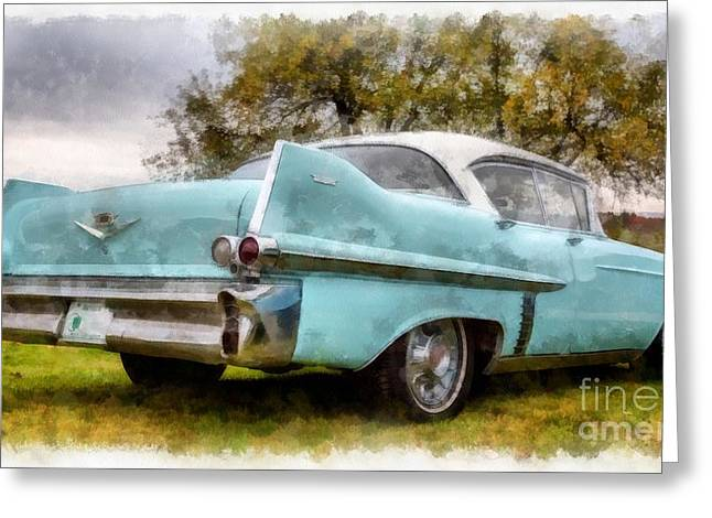 Cadillac Greeting Cards - Vintage Cadillac Watercolor Greeting Card by Edward Fielding