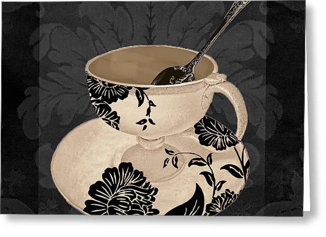 Coffee Prints Greeting Cards - Vintage Cafe II Greeting Card by Mindy Sommers