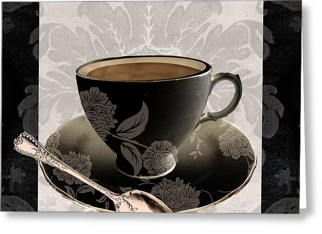 Coffee Prints Greeting Cards - Vintage Cafe III Greeting Card by Mindy Sommers