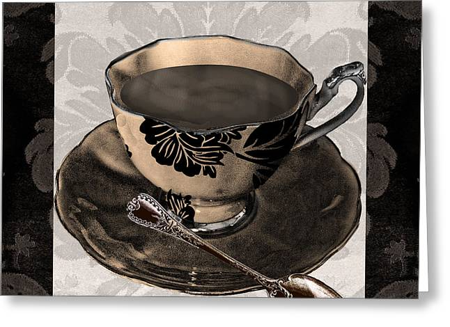 Coffee Prints Greeting Cards - Vintage Cafe IV Greeting Card by Mindy Sommers
