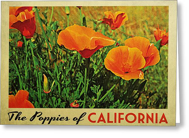 Vintage California Poppies Greeting Card by Flo Karp