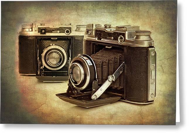 vintage cameras Greeting Card by Meirion Matthias