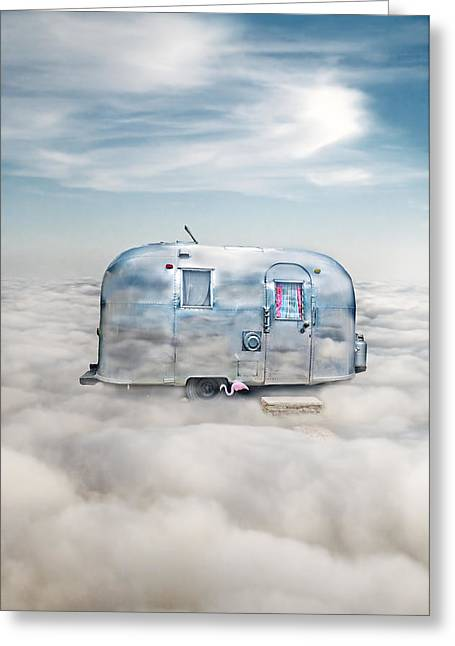 Relaxed Greeting Cards - Vintage Camping Trailer in the Clouds Greeting Card by Jill Battaglia
