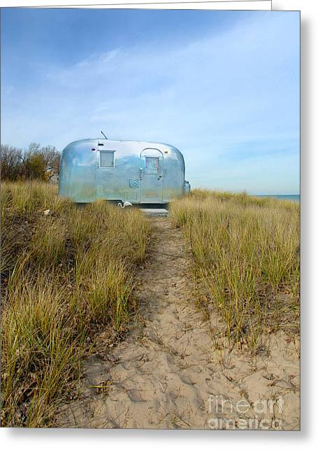 Ocean Shore Greeting Cards - Vintage Camping Trailer Near the Sea Greeting Card by Jill Battaglia