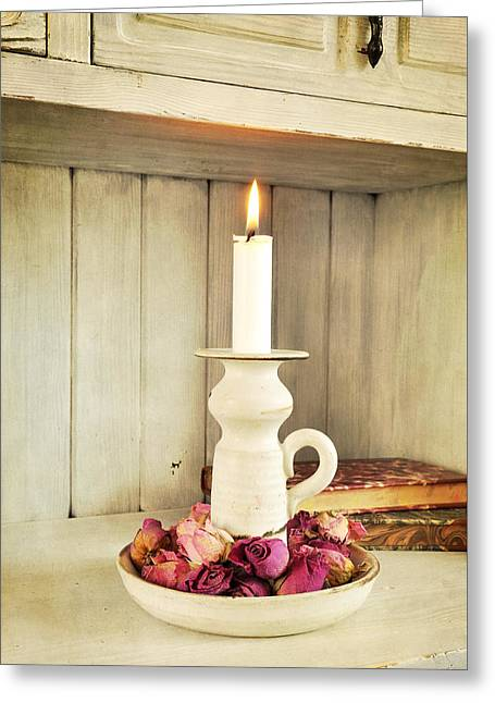Candle Lit Greeting Cards - Vintage candlelight Greeting Card by Anki Hoglund