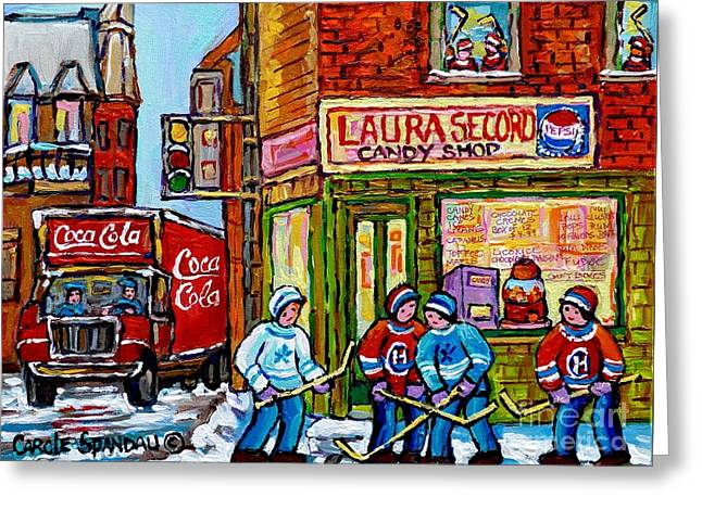 Hockey Paintings Greeting Cards - Vintage Candy Store And Coca Cola Truck Paintings Hockey Game At Laura Secord Montreal Winter Scene  Greeting Card by Carole Spandau