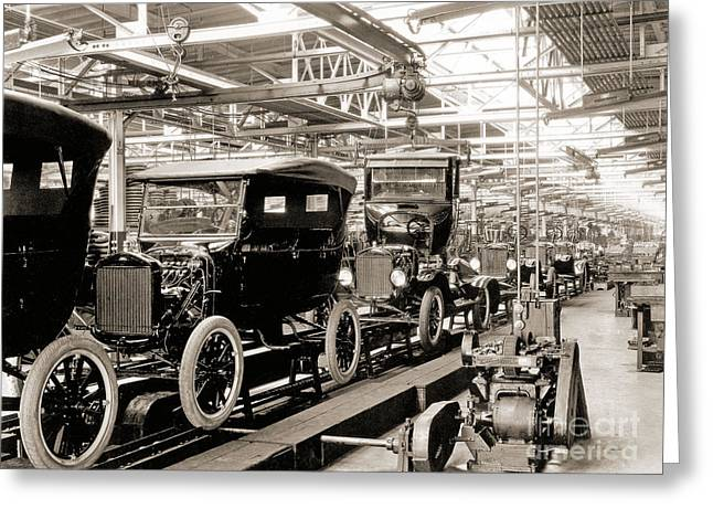 Vintage Car Assembly Line Greeting Card by American School