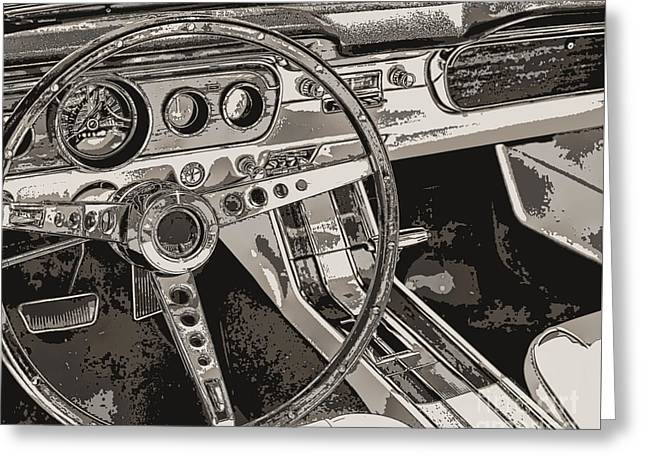 Steering Paintings Greeting Cards - Vintage Car Dashboard Greeting Card by Mindy Sommers