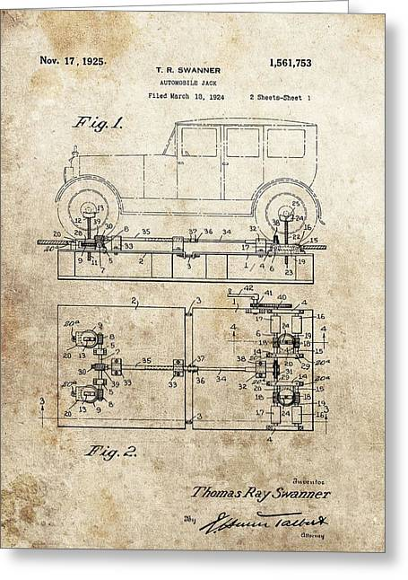 Repaired Mixed Media Greeting Cards - Vintage Car Jack Patent  Greeting Card by Dan Sproul