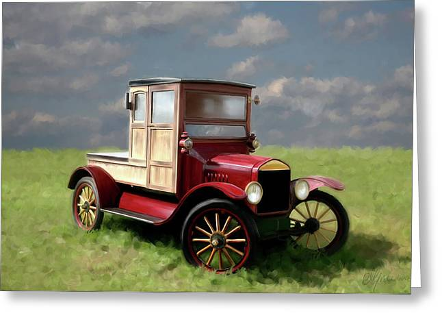 Time2paint Greeting Cards - Vintage Car Painting Greeting Card by Michael Greenaway
