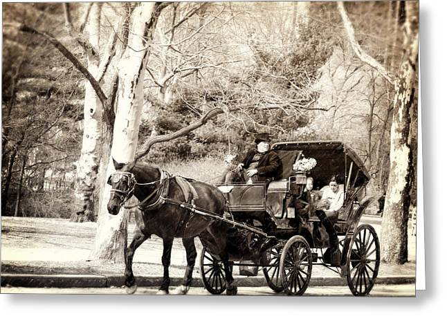 Horse And Buggy Greeting Cards - Vintage Carriage Ride in Central Park Greeting Card by Vicki Jauron
