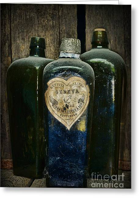 Booze Greeting Cards - Vintage Case Gin Bottles Greeting Card by Paul Ward
