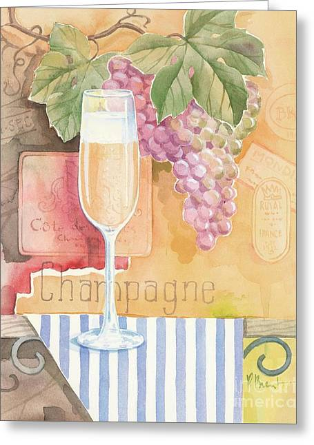 Purple Grapes Greeting Cards - Vintage Champagne Greeting Card by Paul Brent