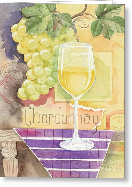 Purple Grapes Greeting Cards - Vintage Chardonnay Greeting Card by Paul Brent