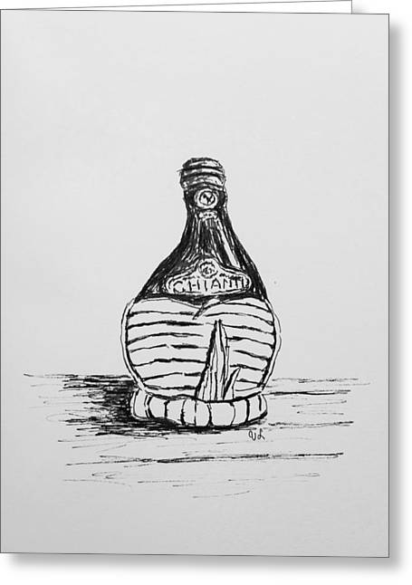 Italian Wine Drawings Greeting Cards - Vintage Chianti Greeting Card by Victoria Lakes