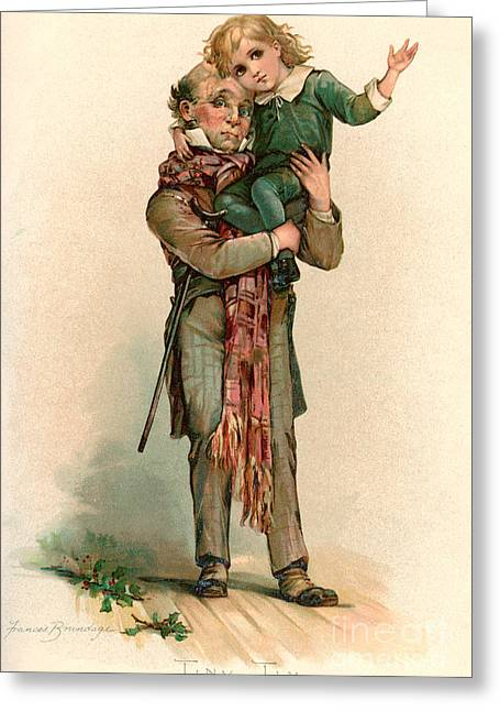 Vintage Christmas Card Depicting Bob Cratchit Carrying Tiny Tim Greeting Card by Frances Brundage